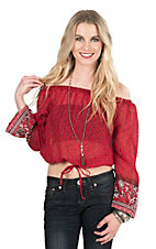 Pink Cattlelac Women's Red Bandana Print Long Sleeve Fashion Top