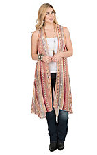 Pink Cattlelac Women's Red and Yellow Tribal Print Sleeveless Vest