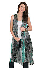 Pink Cattlelac Women's Turquoise Tribal Print Sleeveless Vest