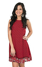 Pink Cattlelac Women's Red Bandana Print Sleeveless Dress