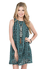 Pink Cattlelac Women's Black and Blue Tiki Print Sleeveless Dress