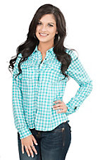Pink Cattlelac Women's Aqua and White Check Long Sleeve Western Snap Shirt