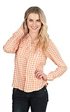 Pink Cattlelac Women's Tangerine and White Check Long Sleeve Western Snap Shirt