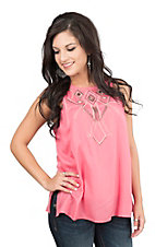 Pink Cattlelac Women's Coral with Beige Embroidery Sleeveless Fashion Top