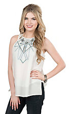 Pink Cattlelac Women's Ivory with Turquoise Embroidery Sleeveless Fashion Top