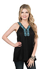 Pink Cattlelac Women's Black with Turquoise Embroidery Sleeveless Fashion Top