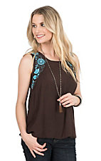 Pink Cattlelac Women's Brown with Turquoise Floral Embroidery Sleeveless Fashion Top