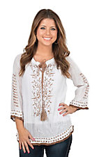 Pink Cattlelac Women's Ivory with Tan Embroidery 3/4 Sleeve Fashion Top