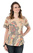 Pink Cattlelac Women's Multi Colored Indian Chief Short Sleeve Casual Knit Top