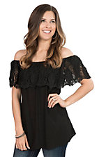 Pink Cattlelac Women's Black with Crochet Ruffled Top Short Sleeve Fashion Top