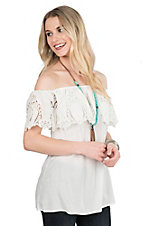 Pink Cattlelac Women's Ivory with Crochet Ruffled Top Short Sleeve Fashion Top