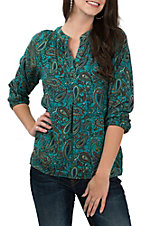 Pink Cattlelac Women's Teal Long Sleeve Paisley Pullover Fashion Shirt