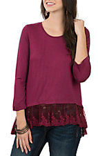 Pink Cattlelac Women's Merlot 3/4 Sleeve W/ Lace Bottom Casual Knit Shirt