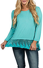 Pink Cattlelac Turquoise 3/4 Sleeve Peasant w/ Lace Bottom Casual Knit Shirt