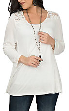 Pink Cattlelac Women's Ivory with Lace 3/4 Sleeve Fashion Shirt