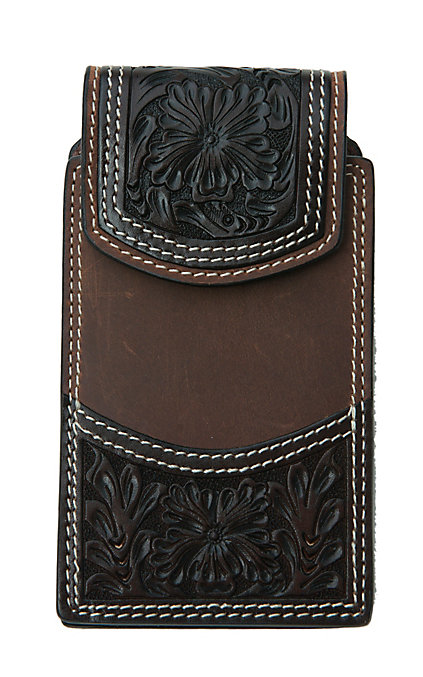 Dark Brown Floral Tooled iPhone Vertical Cell Phone Case