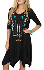 Pink Cattlelac Black w/ Aztec Embroidery Half Sleeve Dress