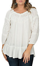 Pink Cattlelac Cream Lace 3/4 Sleeve Lace Peasant Fashion Shirt