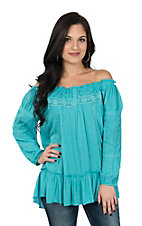 Pink Cattlelac Turquoise 3/4 Sleeve Peasant w/ Lace Peasant Top