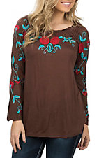 Pink Cattlelac Chocolate with Turquoise Floral Embroidery 3/4 Sleeve Off the Shoulder Fashion Shirt
