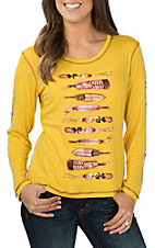 Pink Cattlelac Yellow Indian Feathers Long Sleeve Casual Knit Shirt