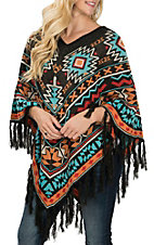 Pink Cattlelac Multi-Color Aztec Fringed Poncho