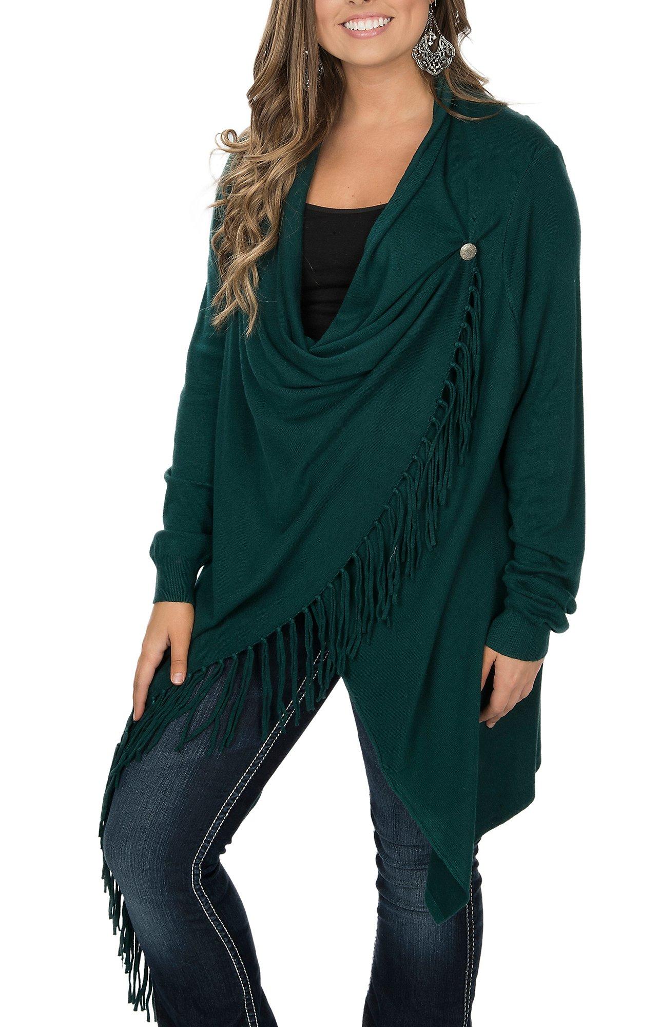 Pink Cattlelac Women's Green Fringe Wrap Sweater Cardigan | Cavender's