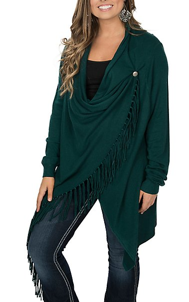 Pink Cattlelac Women's Green Fringe Wrap Sweater Cardigan | Cavender's