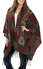 Pink Cattlelac Women's Rust Aztec Fringed Shawl Cardigan