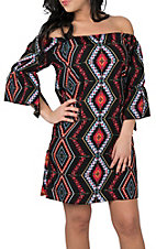 Pink Cattlelac Women's Black, Red and Blue Aztec Print Peasant Dress