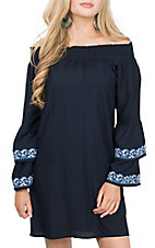 Pink Cattlelac Women's Navy Embroidered Sleeve Off the Shoulder Dress