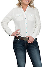 Pink Cattlelac Women's White w/ Ribbed Side Western Snap Shirt