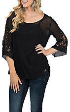 Pink Cattlelac Sheer Black Lace Sleeve Fashion Shirt