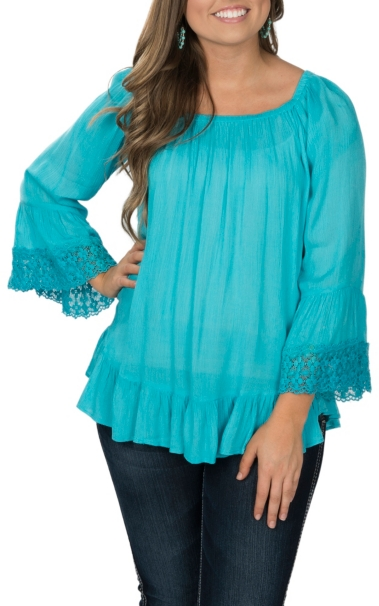 Hot Pink Cattlelac Women's Turquoise Crinkle with Lace Fashion Shirt