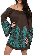 Pink Cattlelac Women's Chocolate and Turquoise Off the Shoulder Dress