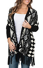 Pink Cattlelac Women's Black and White Aztec Long Sleeve Sweater Cardigan