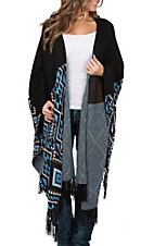 Pink Cattlelac Women's Black and Blue Print Shawl