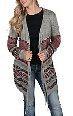 Pink Cattlelac Women's Grey and Burgundy with Fringe Long Sleeve Cardigan