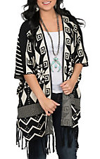 Pink Cattlelac Women's Black and Ivory Fringe Cardigan