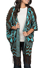 Pink Cattlelac Women's Brown & Turquoise Fringe Cardigan