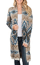 Pink Cattlelac Women's Taupe Long Sleeve Cardigan