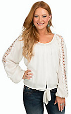 Pink Cattlelac Women's White with Tie and Crochet Long Sleeves Fashion Top
