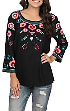 Pink Cattlelac Women's Black with Multi Floral Embroidery Long Sleeves Fashion Top