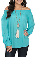 Pink Cattlelac Women's Turquoise with Elastic Fashion Top