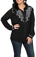 Pink Cattlelac Women's Black Embroidered Top