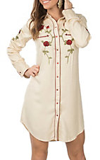 Pink Cattlelac Women's Cream Vintage with Red Floral Embroidery L/S Western Dress