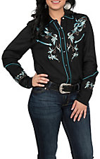 Pink Cattlelac Women's Black and Turquoise Vintage Western Retro Shirt