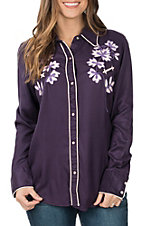 Pink Cattlelac Women's Purple Vintage with Pink Floral Embroidery L/S Western Retro Shirt