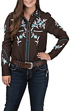 Pink Cattlelac Women's Chocolate Brown with Turquoise Floral Embroidery Long Sleeve Retro Western Shirt
