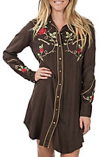 Pink Cattlelac Women's Brown Vintage with Red Floral Embroidery L/S Western Dress